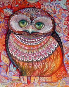 Honey gold owl (Painting),  36x44,5 cm par Oxana Zaika aquarelle,encre,carton