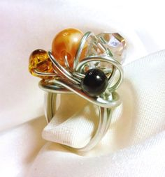 Aluminum Wire Wrapped Beaded Ring with Plastic by avadeldesigns, $23.00 Beaded Rings, Wire Wrapping, Napkin Rings, Pearl Earrings, Plastic, Pearls, Jewelry, Wire, Pearl Drop Earrings