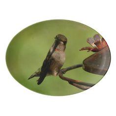 Hummingbird, Porcelain Serving Platter. Porcelain Serving Platter