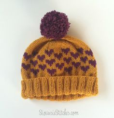 The Heart Beanie - a free knitting pattern from SiouxsieStitches.com