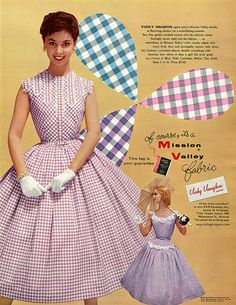 50s gingham plaid print purple pink white full skirt picnic dress print ad models Vicky Vaughn Junior 1956
