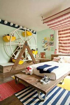 ¿Qué te parece esta estantería para una habitación infantil? - En el siguiente artículo puedes ver más ideas para habitaciones infantiles con temática de circo: www.estiloydeco.com/habitaciones-infantiles-tematicas-vivir-en-un-circo/