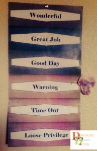 """Made something like this and used clothes pins with their names that they move up and down. At the end of the day they get a token for """"good job"""" or two tokens for """"great job"""", then at the end of the week they get to """"shop"""" and spend their tokens for rewards. Works GREAT for my boys. - BK"""