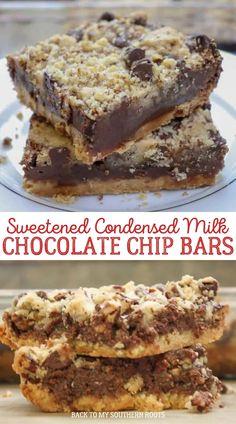 Brownie Recipes, Cookie Recipes, Dessert Recipes, Bar Recipes, Recipies, Chocolate Chip Bars, Chocolate Desserts, Chocolate Squares, Yummy Cookies