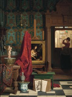 """Waiting for a Loved One"" by Carel Jozeph Grips Oil on panel. Dutch painter and lithographer. After the Dutch Golden Age. Grips was… Dutch Still Life, Dutch Golden Age, Prince, Dutch Painters, Art Studios, Artist At Work, Art History, Joseph, Concept Art"