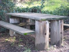 Rustic picnic table in a local park.