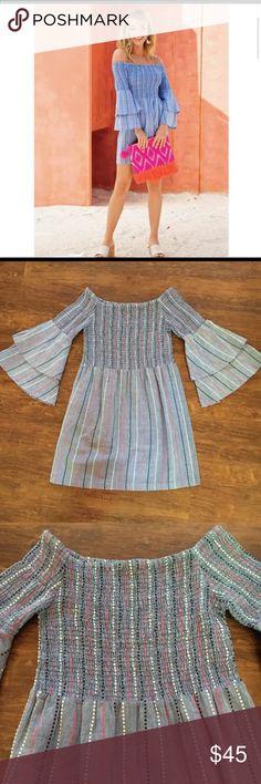 Mud Pie Safari Blue Greek Key Versatile Tunic Dress NWT Girls Size 9-12 Months