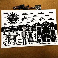 No sertão  #estiloxilo #xilogravura #xilove #xylography #sertão #nordeste #mundoposca #nacaonordestina #sousertão #illustration #ilustração #pintura #posca #artdesign #instaart #artwork #artist #art #draw #drawing #desenho #cordel #graphicdesign #designgrafico #quadro #brasil #eucurtorecife #pernambuco #recife