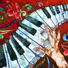 Crazy Fingers Piano Square Painting  - Crazy Fingers Piano Square Fine Art Print @ http://fineartamerica.com/featured/crazy-fingers-piano-square-sue-duda.html