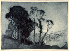 LONG,      Sydney Moonrise on the lake 1928, after intaglio  etching, aquatint, printed in blue ink, from one plate http://artsearch.nga.gov.au/Detail.cfm?IRN=37187