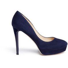 Jimmy Choo 'Alex' acetate heel suede platform pumps ($785) ❤ liked on Polyvore featuring shoes, pumps, blue, blue platform pumps, high heeled footwear, round toe pumps, suede pumps and blue high heel pumps