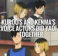 Anime facts Kuroo and Kenma if this is true made my shipping them even more strong.