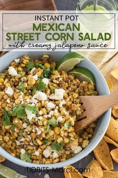 Instant Pot Mexican Street Corn Salad is creamy, flavorful, sweet, and spicy.  Splash of lime and a drizzle of jalapeno sauce make this Esquites incredible and unique. #instantpot #summersides #mexicanstreetcorn #elote Mexican Appetizers, Mexican Food Recipes, Healthy Recipes, Vegetarian Recipes, Instant Pot, Creamy Jalapeno Sauce, Mexican Street Corn Salad, Corn Dishes, Veggie Dishes