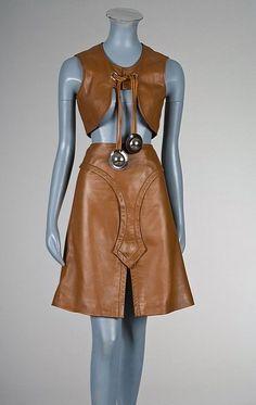 A Pierre Cardin brown leather ensemble, circa 1968 :