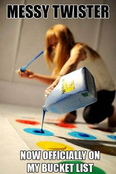 Messy twister, would make an awesome summer party!