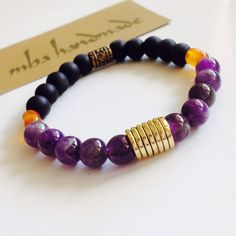 MEN'S GENUINE AMETHYST MATTE ONYX CARNELIAN BEADED GEMSTONE BRACELET BRASS #MBAHandmade #Beaded
