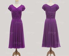 tea length bridesmaid dress purple bridesmaid dress by fitdesign, $92.00