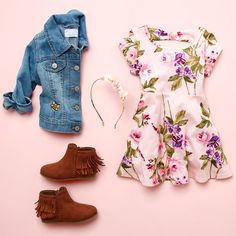 Toddler girls' fashion | Kids' clothes | Denim jacket | Floral dress | Fringe boots | Floral headband | The Children's Place