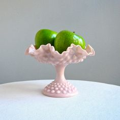 Pink Hobnail Milk Glass Footed Compote by by BarkingSandsVintage, $84.00