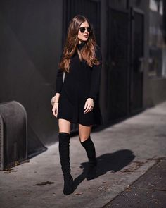 Paola Alberdi  I  @blank_itinerary  I  www.blankitinerary.com  //  wearing GLAMOROUS black turtle neck swing dress  < @ukglamorous www.glamorous.com >