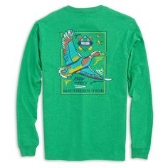 Southern Tide Know Your Prey Mallard Long Sleeve T-Shirt in Green