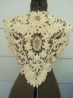 Victorian handmade linen Battenburg tape lace crochet wedding bodice brides bride bridal vest wedding