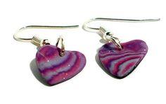 Polymer clay earrings pink purple and silver by BramalfieBeadsetc #earrings