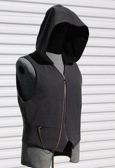 Silver Grey Steampunk Mens Medium Hooded  Vest by OLearStudios, $76.00