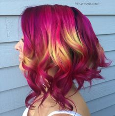 Pink & yellow shine line by @hair_princess_steph