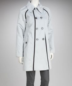 Take a look at this Dove & Black Trim Peacoat by Anne Klein on #zulily today!