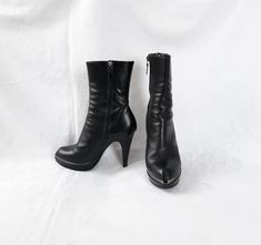 Buy Now! Vintage Black Ankle Boots Women Size Eu 38 Heeled Made in Italy #shoes #fashions Black Ankle Boots, High Heel Boots, Heeled Boots, Platform Boots, Boots Women, Shoe Sale, Womens High Heels, Shoes Online, Vintage Black