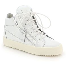 Giuseppe Zanotti Side-Zip Lace-Up Leather Sneakers ($650) ❤ liked on Polyvore