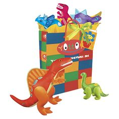 """Pre-Historic Play Pack    Dinosaurs will rule the land once more with YOTTOY's Pre-Historic Play Pack! Comes complete with our award-winning 14"""" Spinosaurus, 7.5"""" Stegosaurus, 8"""" Tyrannosaurus Rex, 7"""" Triceratops and 8"""" Apatosaurus. All are beautifully packaged in our colorful gift bag with daffodil yellow tissue, a bright green satin ribbon and hand-written personalized YOTTOY gift card to give a long lasting impression.    Item #5216  $66.00"""