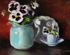 Still Life Realistic Painting of Pansies I by ChatterBoxArt