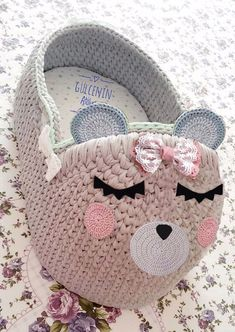 Natural/ organic Baby Moses Basket , Baby Bassinet, Crocheted Moses Basket, baby photo props, Baby s Diy Crochet Basket, Crochet Basket Pattern, Crochet Motif Patterns, Crochet Designs, Baby Doll Bed, Baby Moses, Crochet Octopus, Baby Baskets, Baby Bassinet