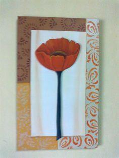 cuadro pintado a mano con amapola en relieve.Hecho por Zimek Artesanias.