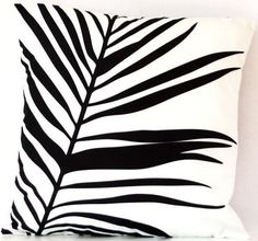 Black and White tropical palm leaf cushion cover by CitraHome