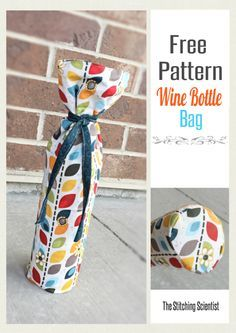Gift your wine in this beautiful handmade wine bottle bag pattern that is bound to show off your crafty side. Wine Bottle Gift, Wine Bottle Covers, Bottle Bag, Wine Bottle Crafts, Wine Gifts, Wine Bottles, Sewing Patterns Free, Sewing Tutorials, Sewing Projects