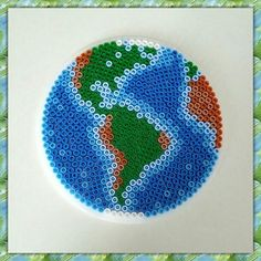 Earth perler beads by nessiesbeads