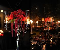 Black and Red Wedding - Beautiful Windlight Candleabra with Red Floral Arrangement - Amazing! Steampunk Wedding, Gothic Wedding, Dream Wedding, Black Red Wedding, Red Centerpieces, Red Wedding Decorations, Red Day, Wedding Inspiration, Wedding Ideas