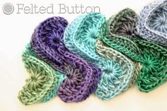 Felted Button Colorful Crochet Patterns, close up of mermaid tail blanket stitch