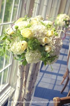 beautiful birch branches for vases & hydrangea--woodsy look, but with a touch of elegance and getting the birch branches could be the hunt for a bridal shower, maybe for couples use your imagination, make it fun!