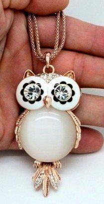 White Hoot Owl Owls Gold Trim Cz Eyes on Nice Chain New by Sprinkles Gifts, http://www.amazon.com/dp/B00B45CYUY/ref=cm_sw_r_pi_dp_ENhurb073QCCG