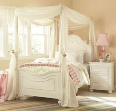 Legacy Classic Kids Charlotte Poster Canopy Bedroom Set in Antique White