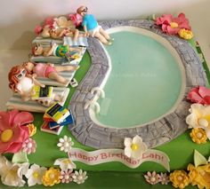 Swimming Pool Cake What I was asked to do: Lady on lounger ? very thin, blonde short bob, flowery bikini (high wasted bikini bots and. Crazy Cakes, Fancy Cakes, Cute Cakes, Awesome Cakes, Pool Party Cakes, Pool Cake, Swimming Cake, Foundant, Novelty Cakes