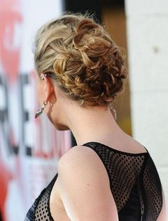 overlapping woven updo on Anna Paquin
