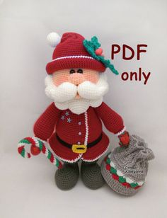 Santa crochet amigurumi pattern pdf by jasminetoys on Etsy