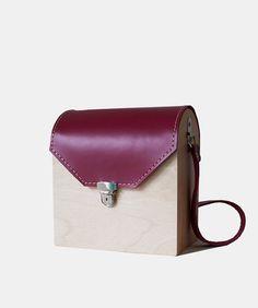 Dark Pink Small Wood Bag by GRAV GRAV