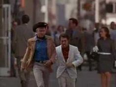 Famous scene from Midnight Cowboy - Hoffman improvised when the cabby almost hit him. It was a real cabby who didn't realize the road was supposed to be blocked off.