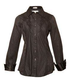 Look at this Roar Clothing Black Stripe Mrs. Solace Button-Up - Women on #zulily today!